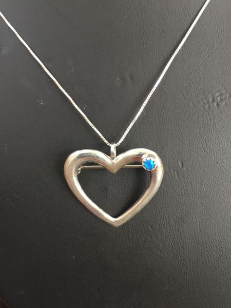 "STERLING SILVER HEART PENDANT/PIN BLUE MOTHER OF PEARL WITH 18"" STERLING SILVER CHAIN"