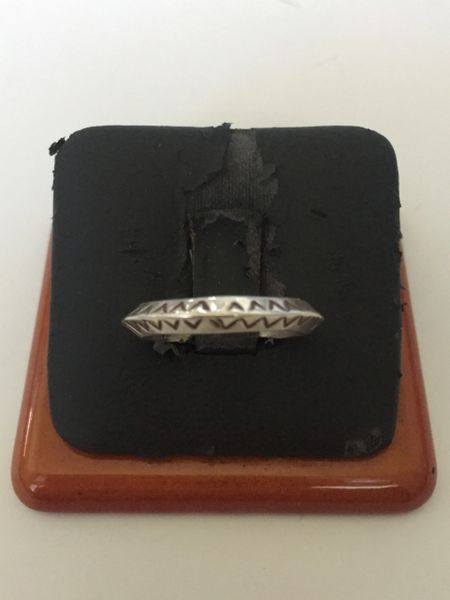 Hand stamped sterling silver band