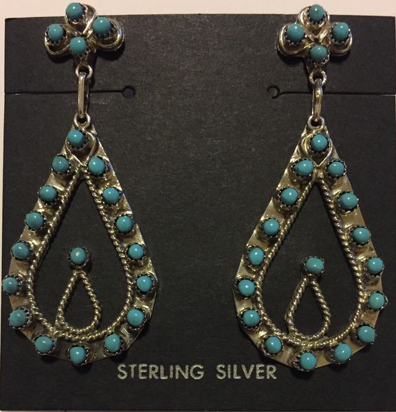 Large teardrop round turquoise stones signed earrings. Sterling silver.