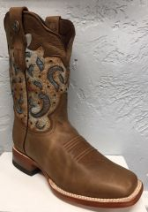 Katelyn, Crazy Oil Brown with Carolina Blue Top. All Leather Ladies Pull Up Western Boot. TL201300