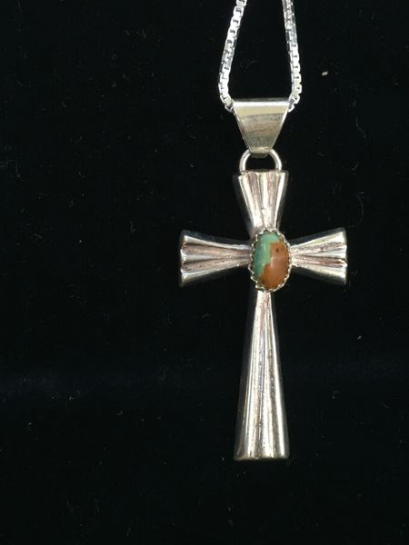 "HANDMADE STERLING SILVER & GENUINE TURQUOISE CROSS PENDANT WITH 18"" STERLING SILVER CHAIN"