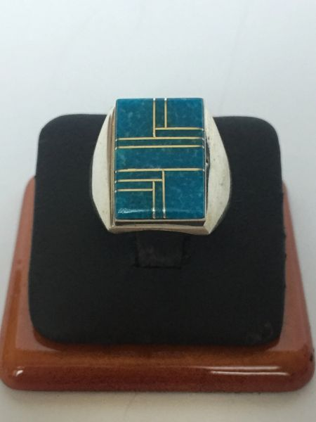 Wilbert Grey turquoise & sterling silver inlay ring