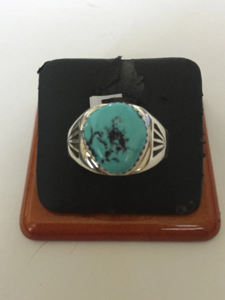 Signed kingman turquoise & sterling silver ring