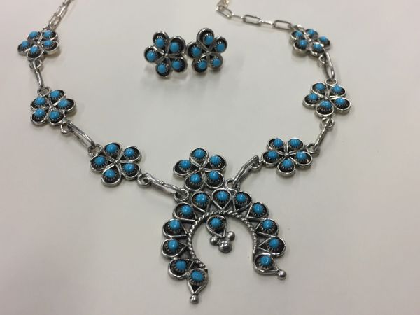 Signed Pamela James squash blossom & earring set sterling & sleeping beauty turquoise
