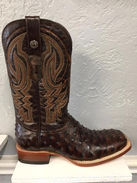 Big Cabin, Ostrich Print Classic Brown with Marble Brown Top Men's All Leather Western Boot. TM200964.