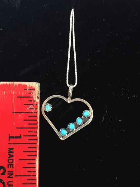 """STERLING SILVER GENUINE TURQUOISE HEART PENDANT 18"""" CHAIN"""