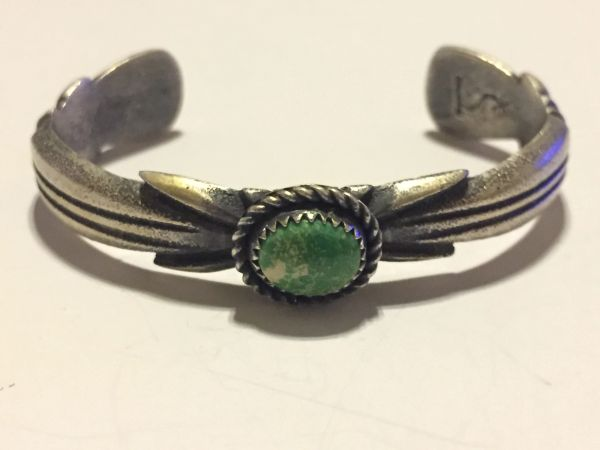 Sandcast sterling silver & turquoise dominic oicayeche bracelet