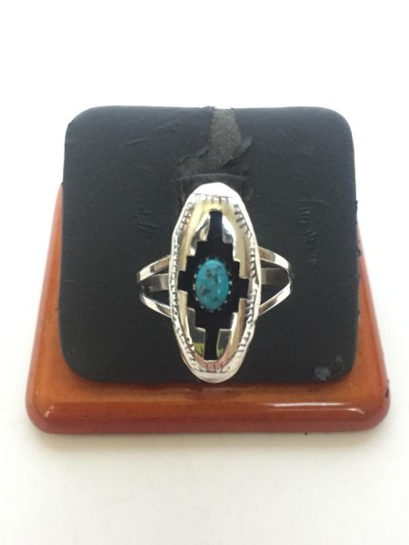 """Sterling silver & turquoise shadow box ring 1"""" long"""