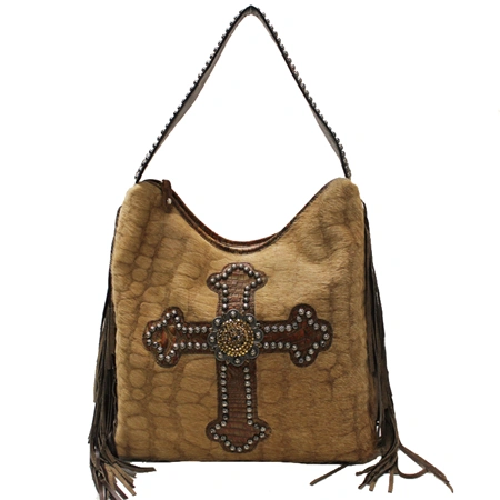 FRINGE STUDS AND CROSS HANDBAG BY RAVIANI GENUINE LEATHER MADE IN THE USA