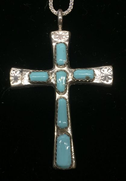 "Signed W LULE sterling silver & turquoise heavy cross pendant & 18"" sterling box chain"