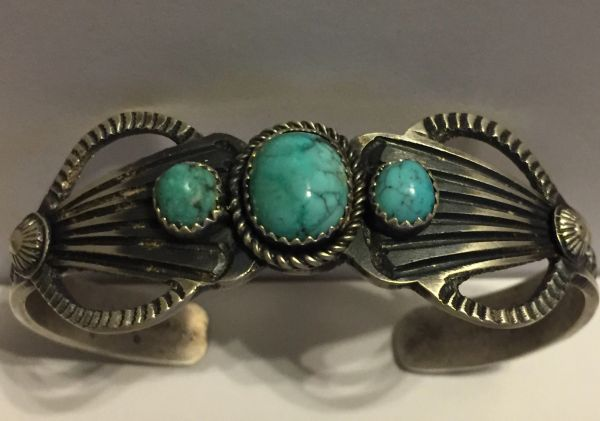 Kevin Billah signed antique finish sterling & turquoise bracelet.