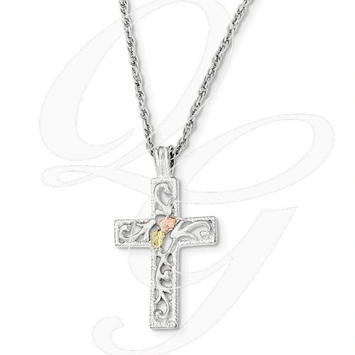 12k Black Hills gold rose gold and sterling cross