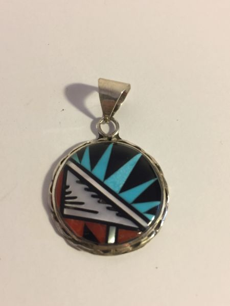 Signed Zuni multi stone inlay pendant sterling silver, turquoise, coral, MOP & Jet