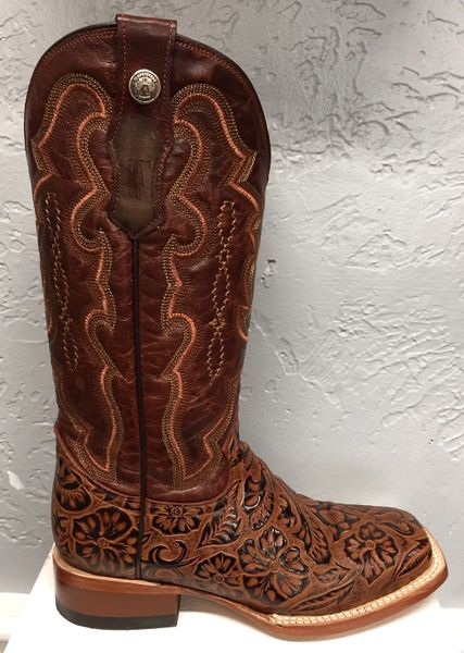 Brown Tooled All Leather Pull Up Ladies Boot. TML201760.