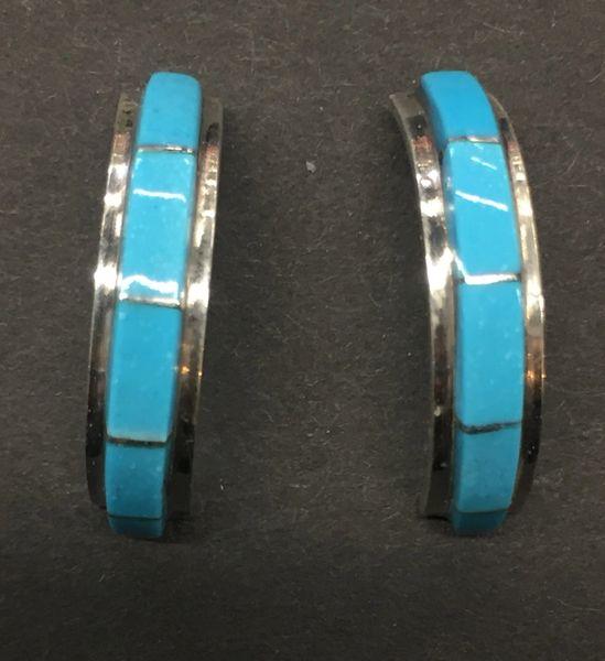 Zuni turquoise inlay & sterling silver half hoop stud earrings.