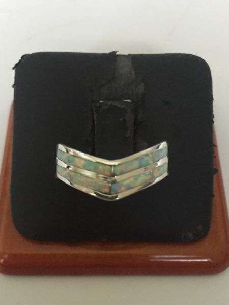 Signed Andrew Enrico sterling silver & opal inlay chevron ring.