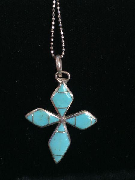 JAMES KEE SIGNED TURQUOISE & STERLING CROSS NECKLACE