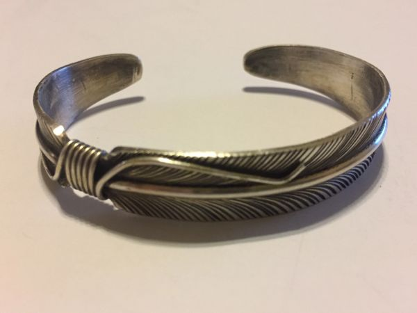 Vivian Jones antique sterling silver feather bracelet