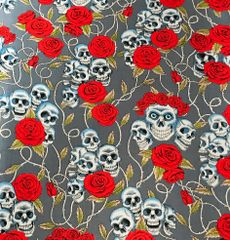 Skulls&Roses on Silver Bandana