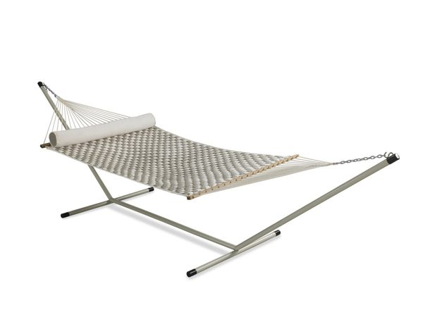 Large Soft Weave Quilted Hammock With 15 Ft Steel Stand