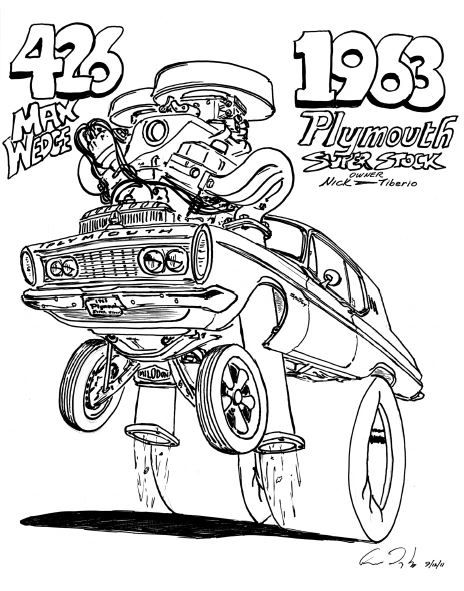 """1963 PLYMOUTH 426 MAX. PRINT ON 17"""" X 24"""" PAPER"""