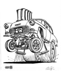 "55 Chevy Gasser . SIGNED PRINT on 17""x 24"" paper"