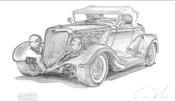 """34 FORD REMARKED SIGNED PRINT 17""""X 24' PAPER"""