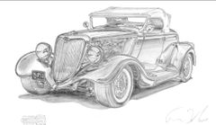 "34 Ford signed print of pencil drawing 17"" x 24 "" paper"