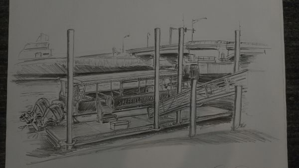 "Sheffield Island Boat & Dock 17""x 24"""