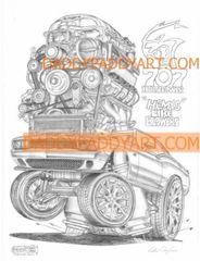 "2015- Challenger SRT8 Hellcat- Remarked Print 17""x 24"""