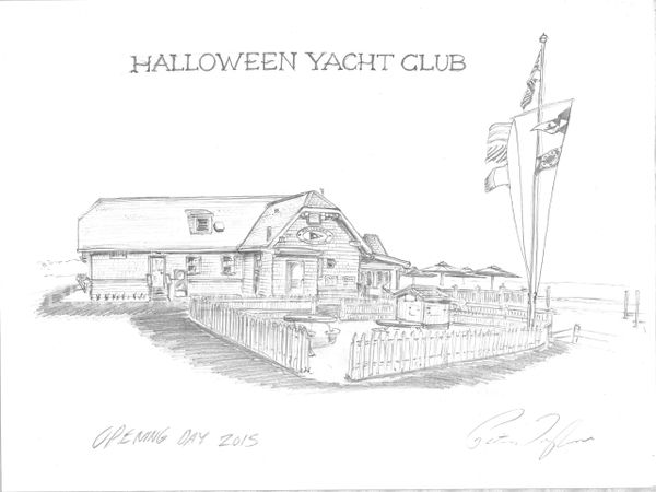 "Archtechural Rendering- Halloween Yacht Club-Stamford-CT 17""x 24"""
