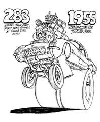 "1955 CORVETTE DRAG CAR. PRINT 17"" X 24 """