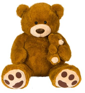 9e385f1889db2 HUGE TEDDY BEAR WITH BABY BEAR SOFT PLUSH 52 inch BROWN