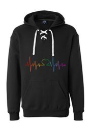 Heartbeat Design Sports Lace Hooded Sweatshirt