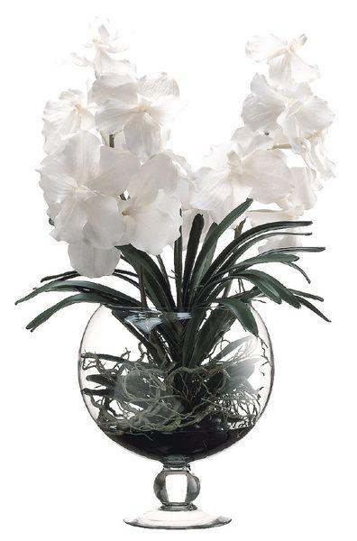 Vanda Orchid In Glass Vase All Silks Etc