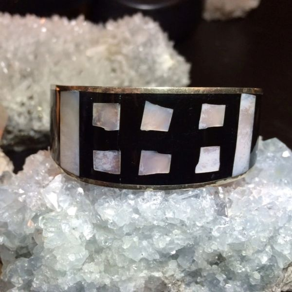 8028f3eda85 Mother of Pearl & Black Onyx Inlay Sterling Silver Cuff Bracelet | Accent  Gem Designs - Healing Jewelry