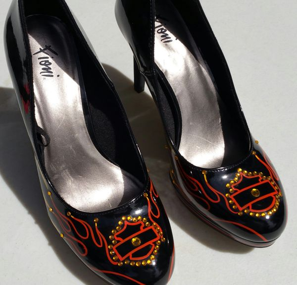 Ladies Harley Themed Shoes - Size 8