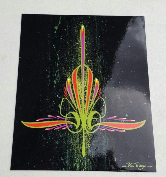 Lime Green Pinstiping - Glossy Art Print