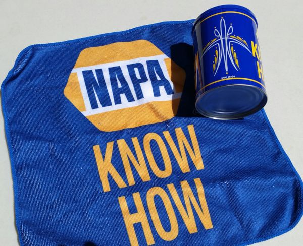 Pinstriped NAPA Oil Can - Coin Bank w/ Micro Fiber Towel