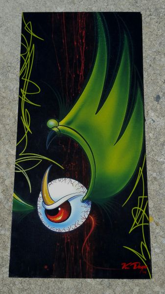 """Green PINSTRIPED """"Artist Proof""""- Canvas Mounted Pinstriped Flying Eyeball"""