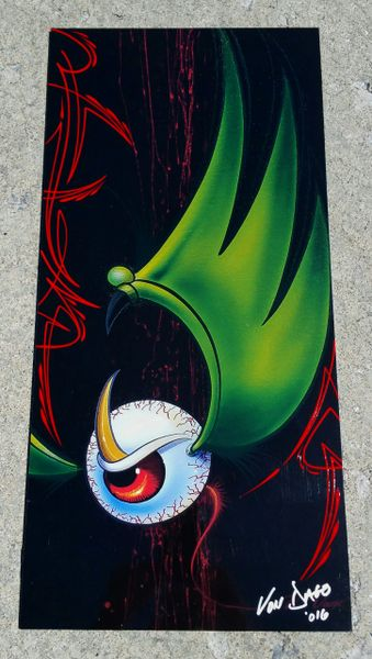 "Red PINSTRIPED ""Artist Proof""- Glossy Mounted Flying Eyeball"