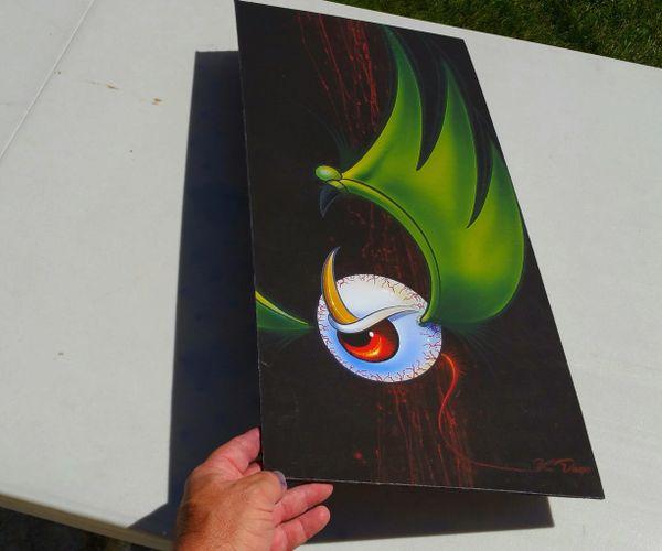 LARGE CANVAS MOUNTED ~ Green Flying Eyeball - Art Print