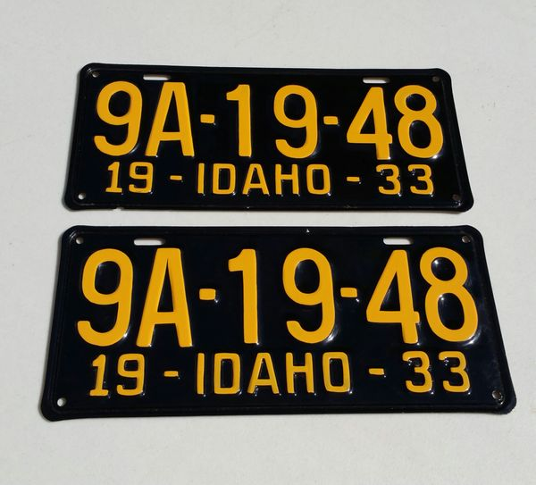 Matching Pair of Original 1933 Idaho Lic. Plates