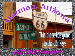 Route 66 fridge magnet featuring streets in Oatman, AZ