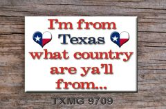 Texas phrase fridge magnet, what country are yall from