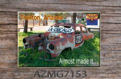 Route 66 fridge magnet featuring old car in Truxton, AZ