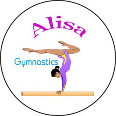 8 1.5 Inch Round Keyring with Personalized Gymnastics Graphics #CH467KR