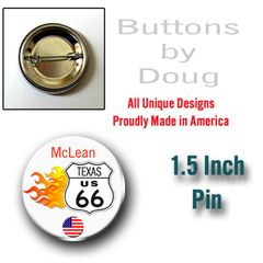 1.5 Inch Pin Personalized Route 66 With City and State