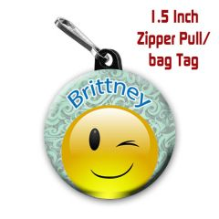 Personalized 1.5 Inch winking Emoji Zipper Pull/Bag Tag with Name