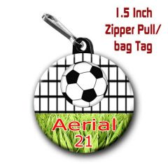 Soccer zipper pull, pin,or magnet personalized with name, number, font color CH455